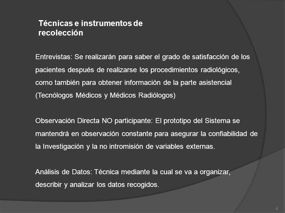 4 Técnicas e instrumentos de recolección Entrevistas: Se realizarán para saber el grado de satisfacción de los pacientes después de realizarse los pro