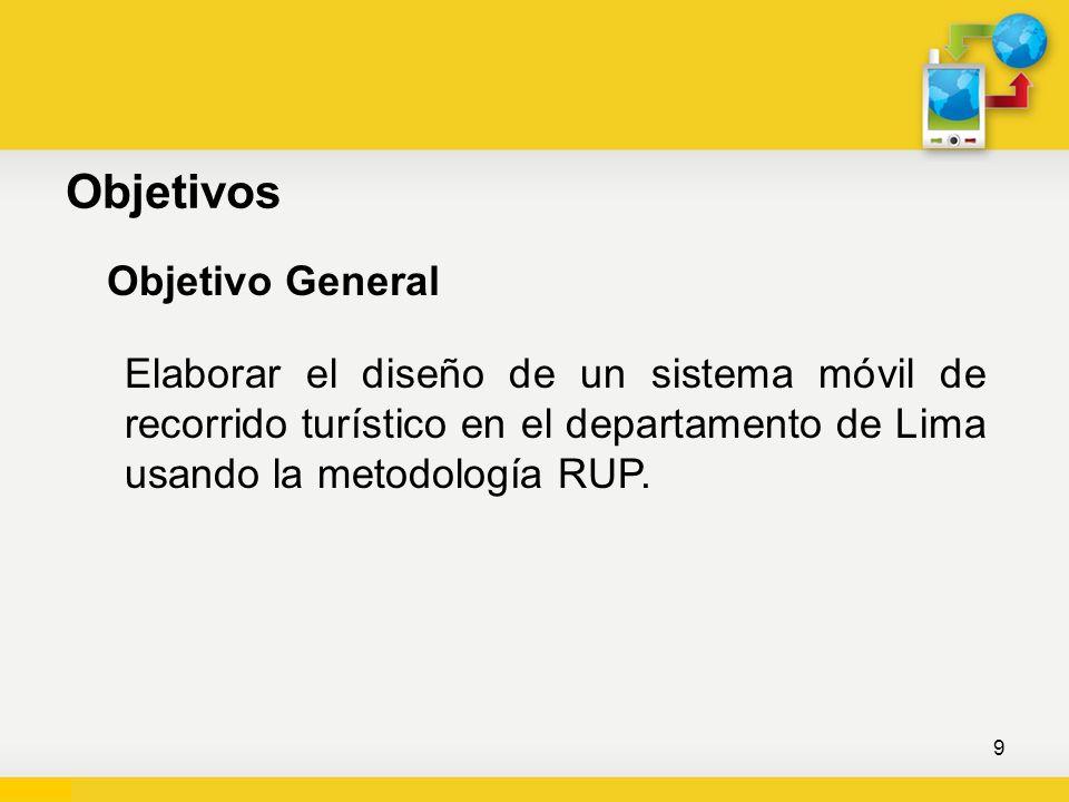 Objetivos Objetivo General Elaborar el diseño de un sistema móvil de recorrido turístico en el departamento de Lima usando la metodología RUP. 9