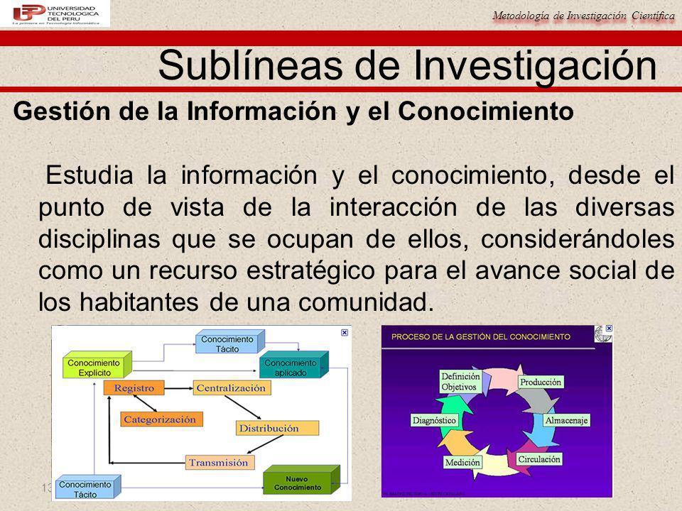Metodología de Investigación Científica 13 Gestión de la Información y el Conocimiento Estudia la información y el conocimiento, desde el punto de vis