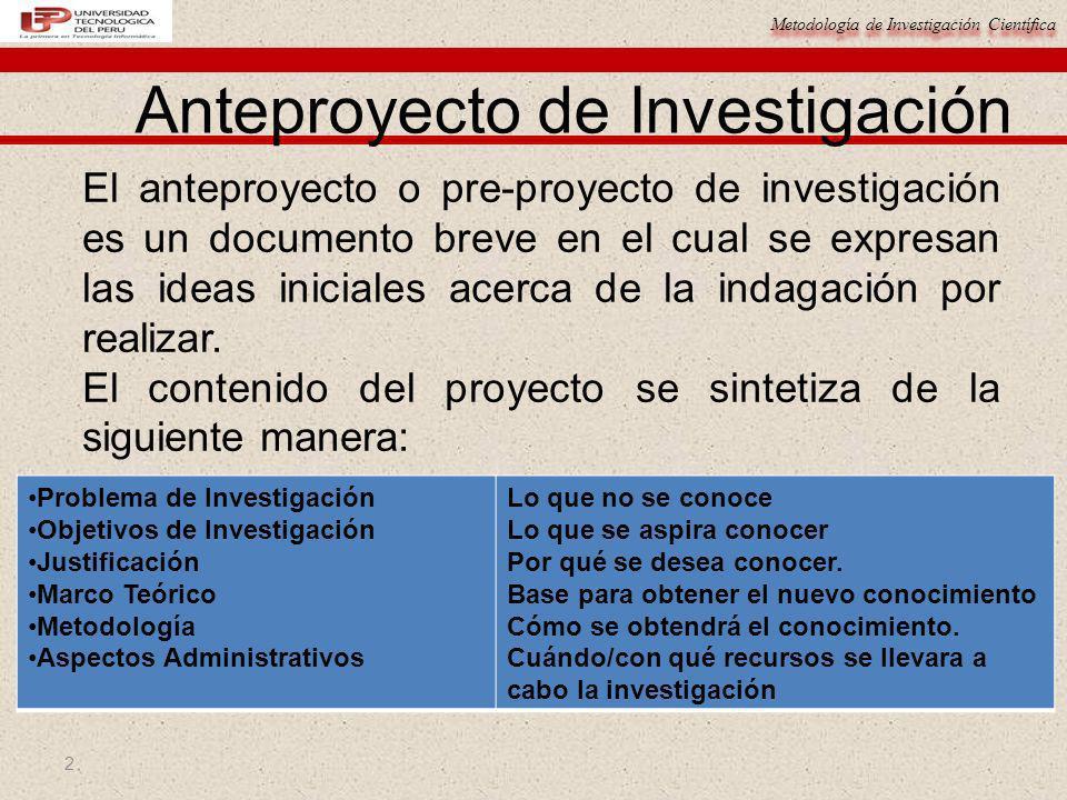 Metodología de Investigación Científica 2 Anteproyecto de Investigación El anteproyecto o pre-proyecto de investigación es un documento breve en el cu