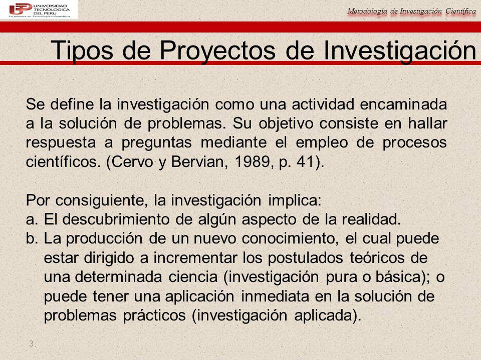 Metodología de Investigación Científica 3 Tipos de Proyectos de Investigación Se define la investigación como una actividad encaminada a la solución d