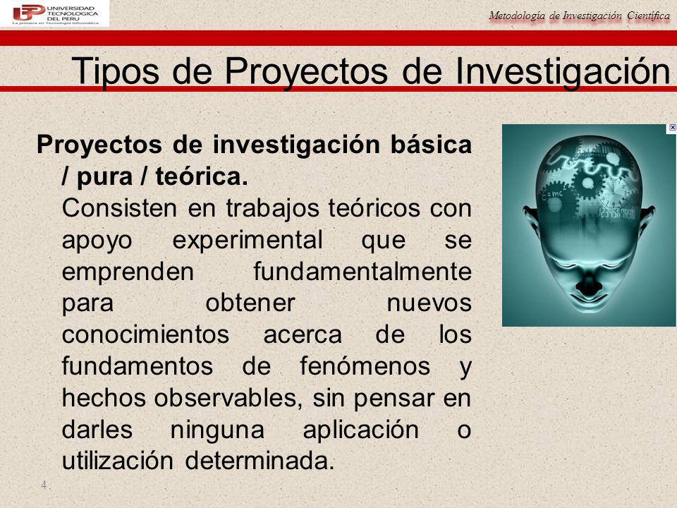 Metodología de Investigación Científica 4 Proyectos de investigación básica / pura / teórica. Consisten en trabajos teóricos con apoyo experimental qu