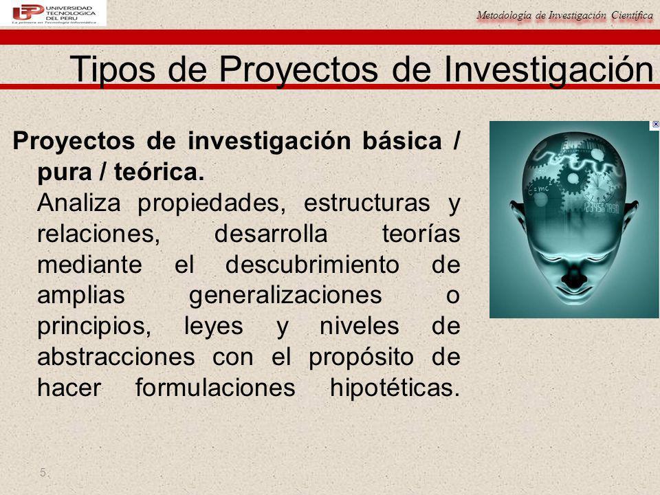 Metodología de Investigación Científica 5 Proyectos de investigación básica / pura / teórica. Analiza propiedades, estructuras y relaciones, desarroll