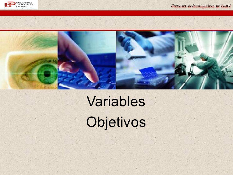 Proyectos de Investigacièon de Tesis I Variables Objetivos