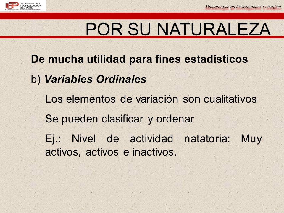 Metodología de Investigación Científica De mucha utilidad para fines estadísticos b) Variables Ordinales Los elementos de variación son cualitativos Se pueden clasificar y ordenar Ej.: Nivel de actividad natatoria: Muy activos, activos e inactivos.