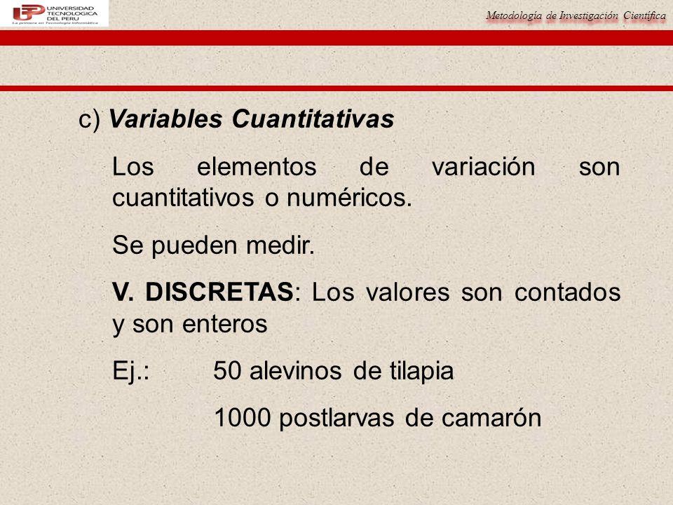 Metodología de Investigación Científica c) Variables Cuantitativas Los elementos de variación son cuantitativos o numéricos. Se pueden medir. V. DISCR