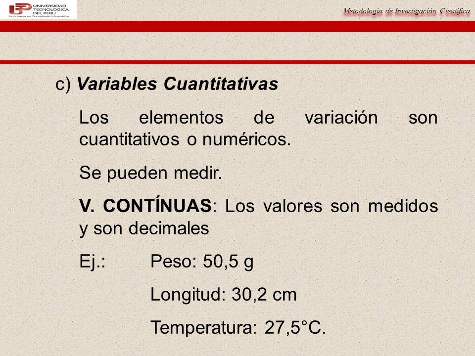 Metodología de Investigación Científica c) Variables Cuantitativas Los elementos de variación son cuantitativos o numéricos. Se pueden medir. V. CONTÍ