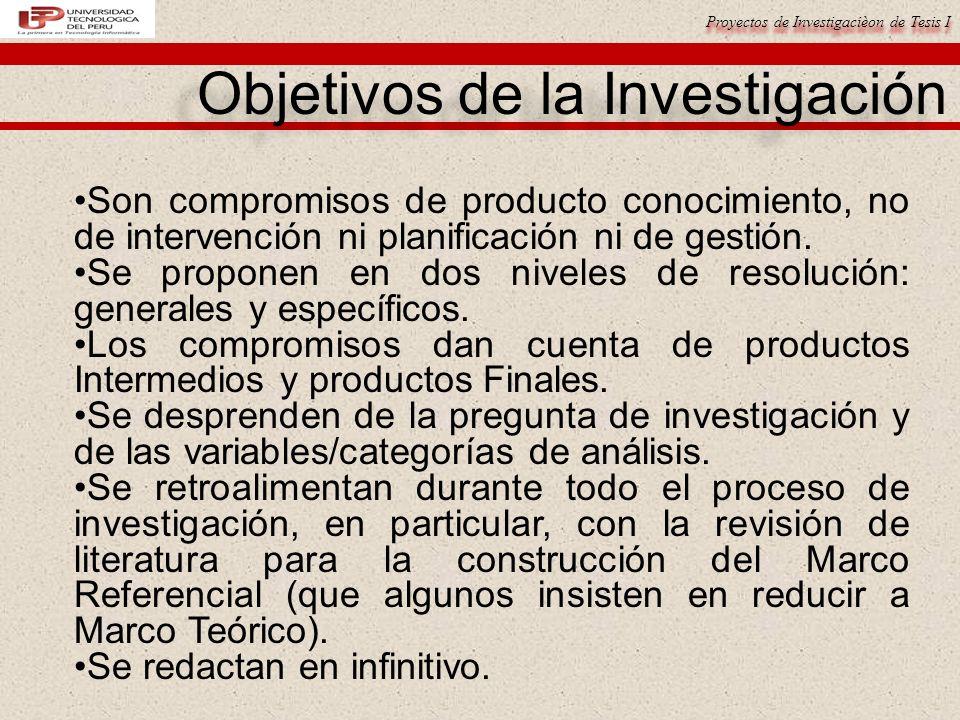 Proyectos de Investigacièon de Tesis I Objetivos de la Investigación Son compromisos de producto conocimiento, no de intervención ni planificación ni de gestión.