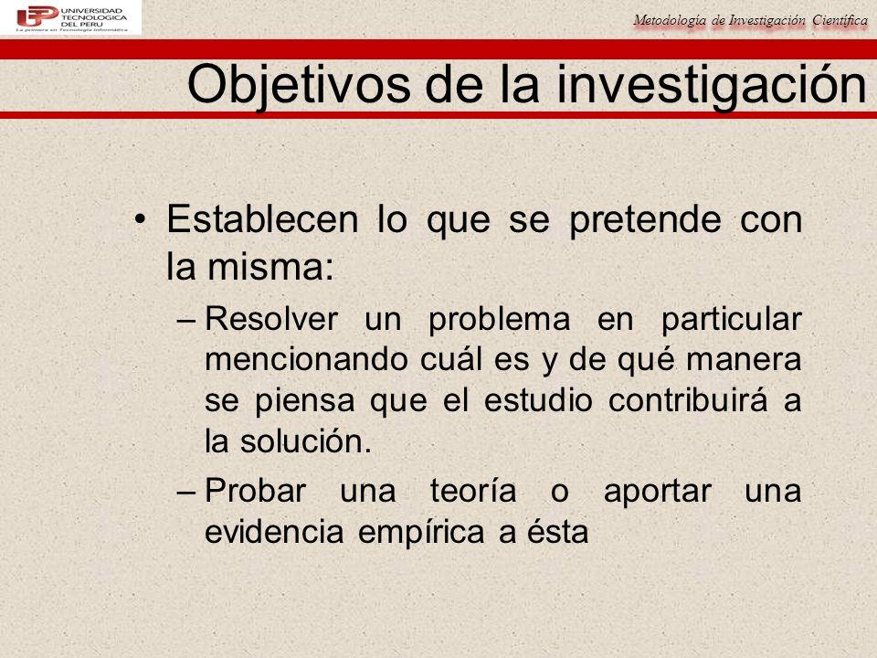 Metodología de Investigación Científica Objetivos de la investigación Establecen lo que se pretende con la misma: –Resolver un problema en particular