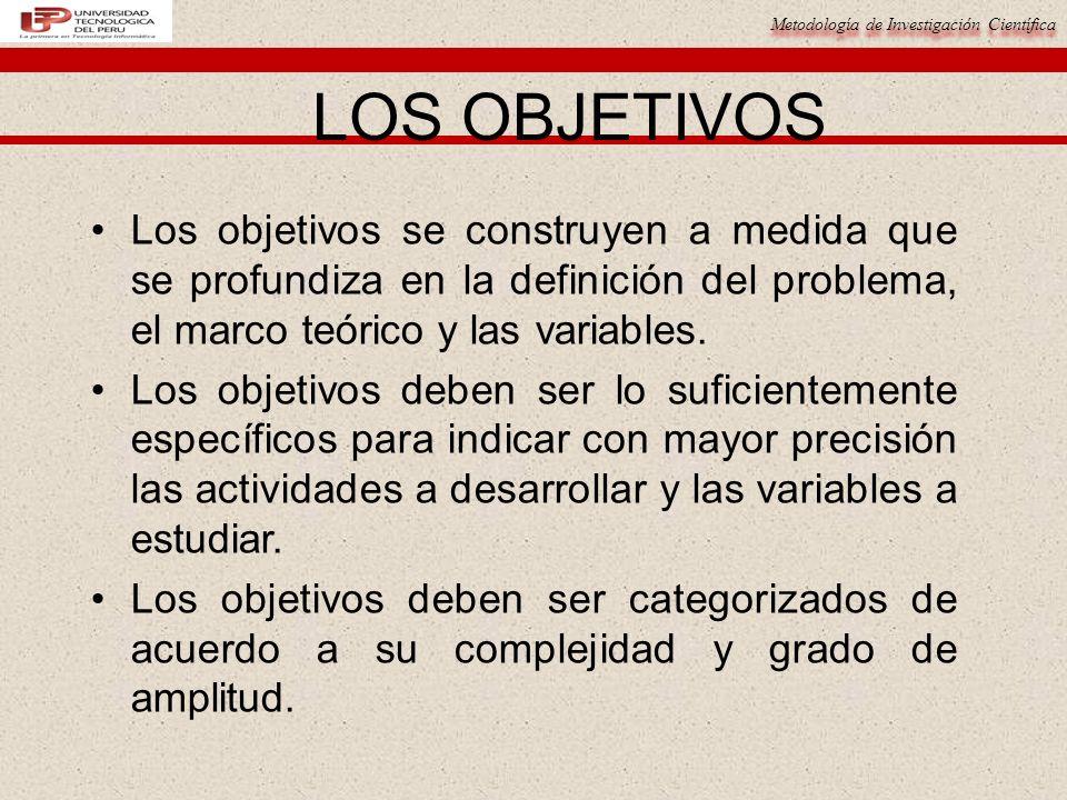 Metodología de Investigación Científica LOS OBJETIVOS Los objetivos se construyen a medida que se profundiza en la definición del problema, el marco t