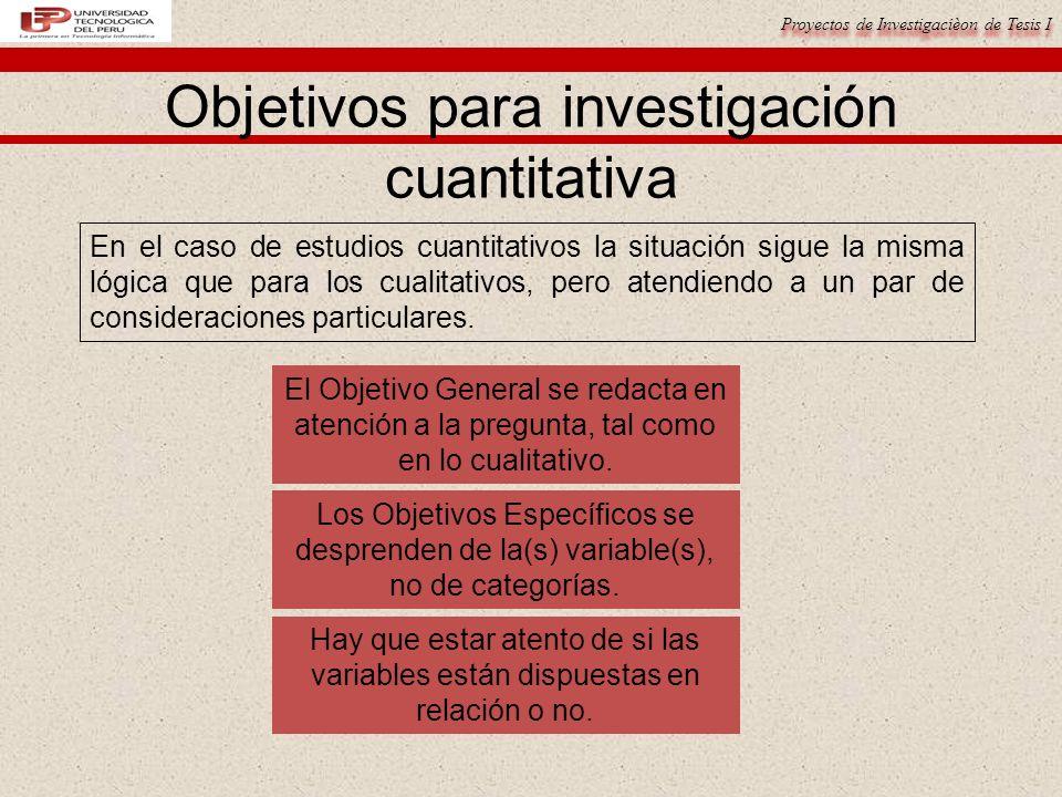 Proyectos de Investigacièon de Tesis I Objetivos para investigación cuantitativa En el caso de estudios cuantitativos la situación sigue la misma lógica que para los cualitativos, pero atendiendo a un par de consideraciones particulares.