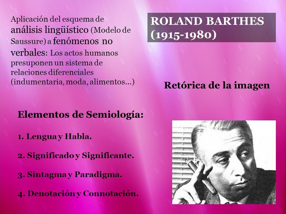 ROLAND BARTHES (1915-1980) Elementos de Semiología: 1. Lengua y Habla. 2. Significado y Significante. 3. Sintagma y Paradigma. 4. Denotación y Connota