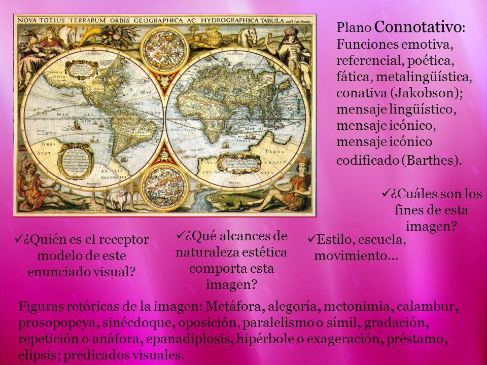 Plano Connotativo : Funciones emotiva, referencial, poética, fática, metalingüística, conativa (Jakobson); mensaje lingüístico, mensaje icónico, mensa