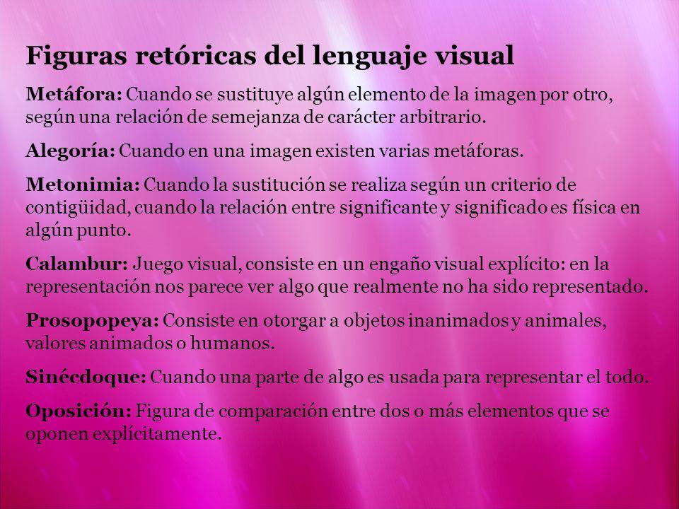 Figuras retóricas del lenguaje visual Metáfora: Cuando se sustituye algún elemento de la imagen por otro, según una relación de semejanza de carácter