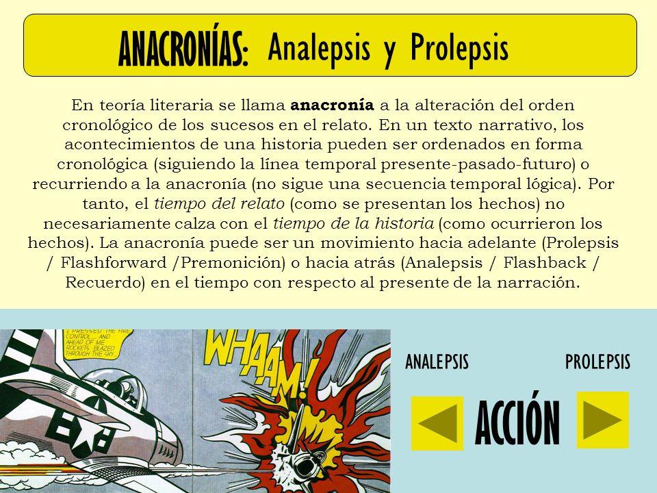 ANACRONÍAS: Analepsis y Prolepsis En teoría literaria se llama anacronía a la alteración del orden cronológico de los sucesos en el relato. En un text