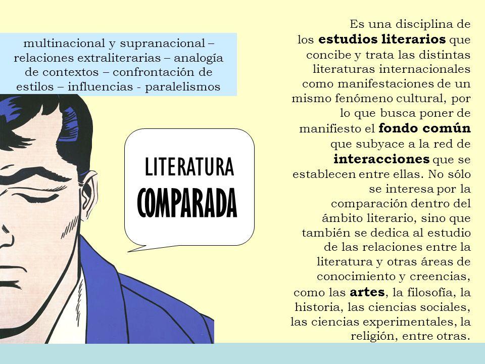 LITERATURA COMPARADA Es una disciplina de los estudios literarios que concibe y trata las distintas literaturas internacionales como manifestaciones d