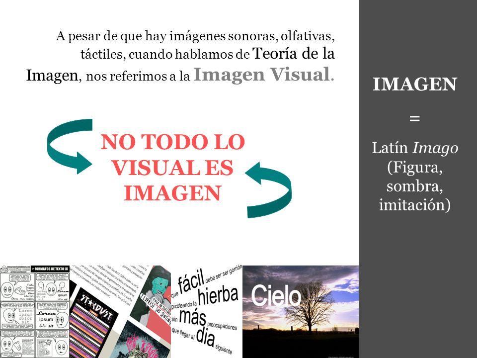 IMAGEN = Latín Imago (Figura, sombra, imitación) A pesar de que hay imágenes sonoras, olfativas, táctiles, cuando hablamos de Teoría de la Imagen, nos