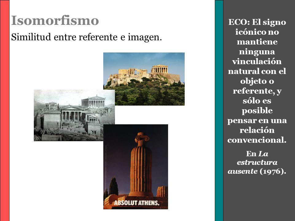 Isomorfismo Similitud entre referente e imagen. ECO: El signo icónico no mantiene ninguna vinculación natural con el objeto o referente, y sólo es pos