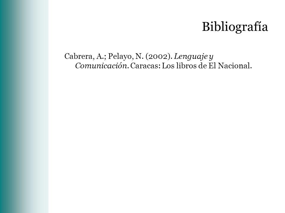Bibliografía Cabrera, A.; Pelayo, N. (2002). Lenguaje y Comunicación. Caracas: Los libros de El Nacional.