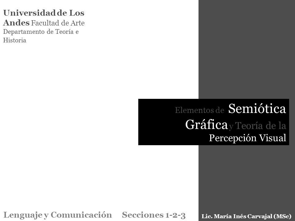 Universidad de Los Andes Facultad de Arte Departamento de Teoría e Historia Elementos de Semiótica Gráfica y Teoría de la Percepción Visual Lenguaje y