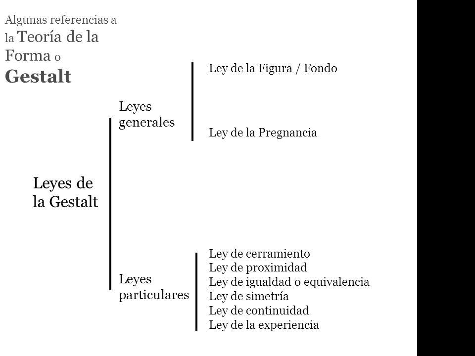 Algunas referencias a la Teoría de la Forma o Gestalt Leyes de la Gestalt Leyes generales Leyes particulares Ley de la Figura / Fondo Ley de la Pregna