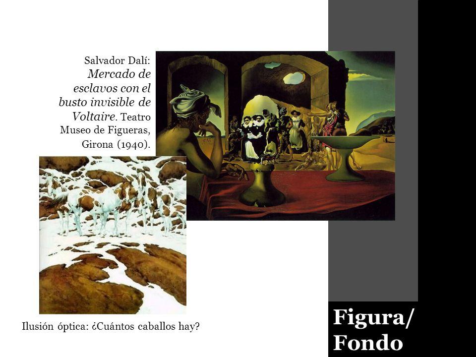 Figura/ Fondo Salvador Dalí: Mercado de esclavos con el busto invisible de Voltaire. Teatro Museo de Figueras, Girona (1940). Ilusión óptica: ¿Cuántos
