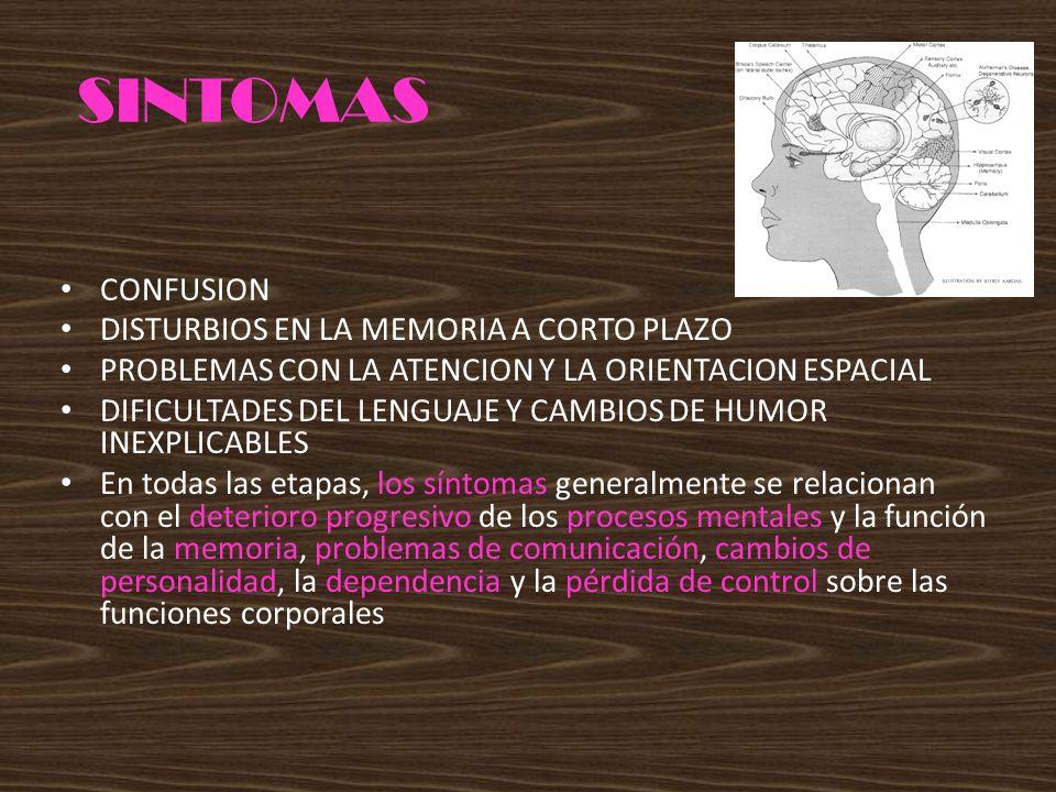 SINTOMAS CONFUSION DISTURBIOS EN LA MEMORIA A CORTO PLAZO PROBLEMAS CON LA ATENCION Y LA ORIENTACION ESPACIAL DIFICULTADES DEL LENGUAJE Y CAMBIOS DE H