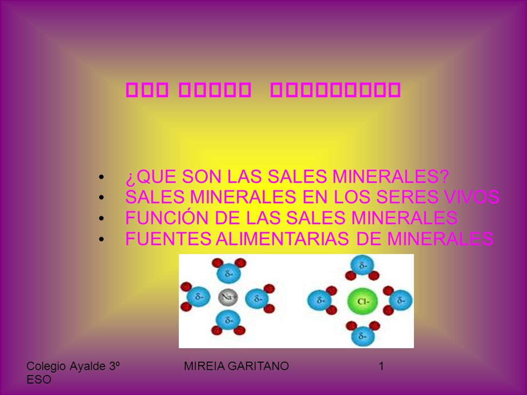 Colegio Ayalde 3º ESO MIREIA GARITANO2 Las sales minerales son moléculas inorgánicas de fácil ionización en presencia de agua y que en los seres vivos aparecen tanto precipitadas como disueltas como asociadas.