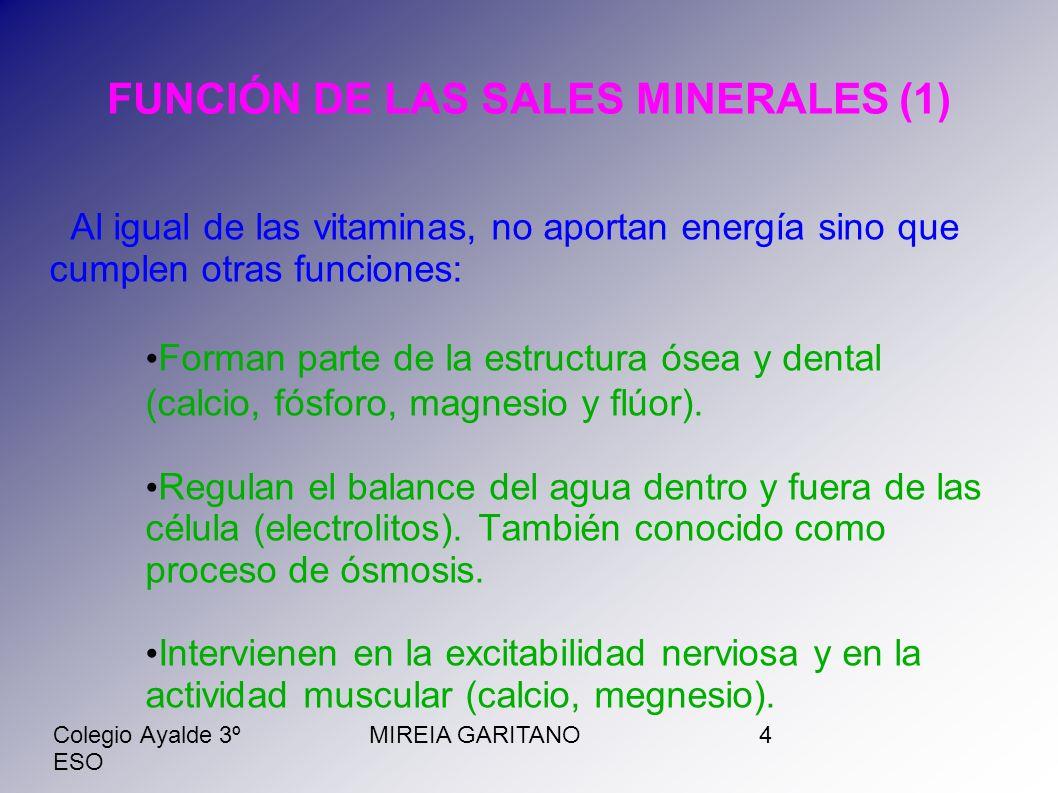 Colegio Ayalde 3º ESO MIREIA GARITANO5 FUNCIÓN DE LAS SALES MINERALES (2) Permiten la entrada de sustancias a las células (la glucosa necesita del sodio para poder ser aprovechada como fuente de energía a nivel celular).