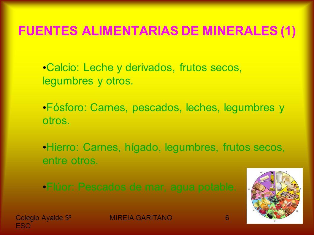 Colegio Ayalde 3º ESO MIREIA GARITANO7 FUENTES ALIMENTARIAS DE MINERALES (2) Yodo: Pescado, sal yodada.