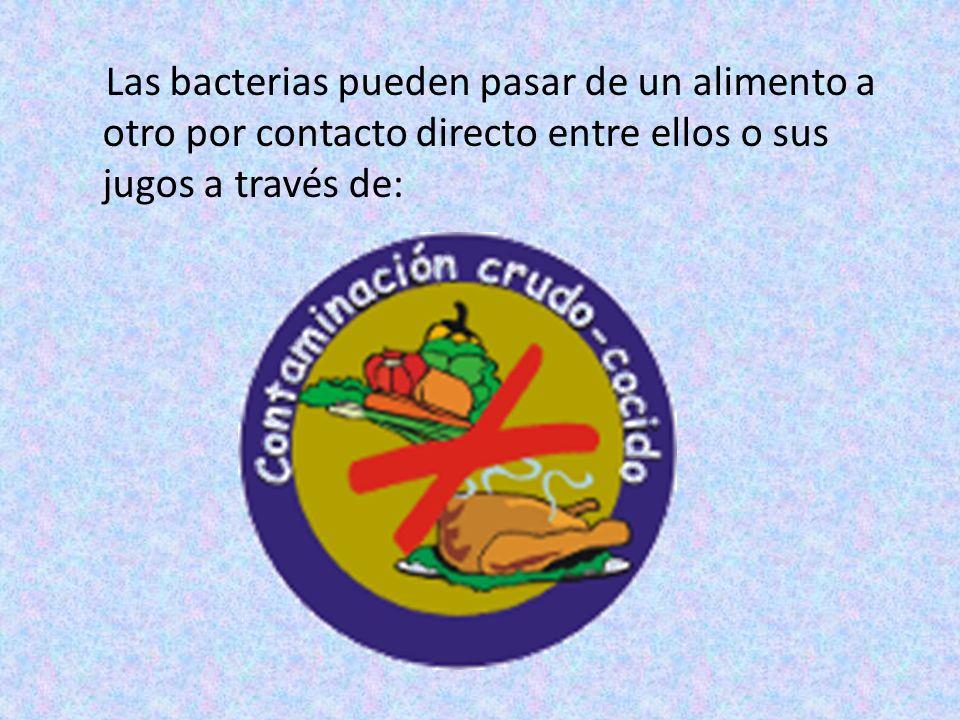 Las bacterias pueden pasar de un alimento a otro por contacto directo entre ellos o sus jugos a través de: