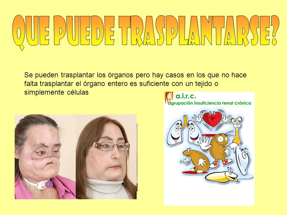Se pueden trasplantar los órganos pero hay casos en los que no hace falta trasplantar el órgano entero es suficiente con un tejido o simplemente célul