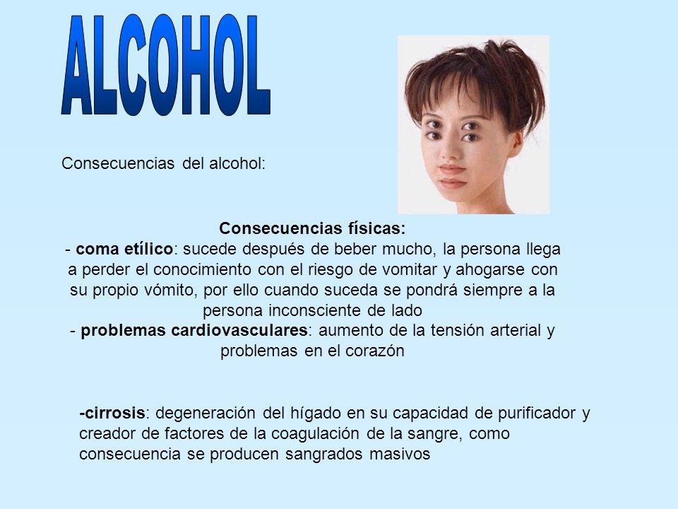 Consecuencias del alcohol: Consecuencias físicas: - coma etílico: sucede después de beber mucho, la persona llega a perder el conocimiento con el ries