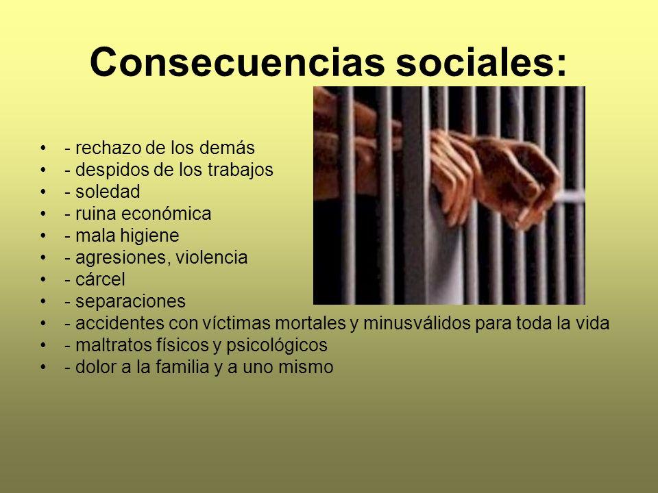 Consecuencias sociales: - rechazo de los demás - despidos de los trabajos - soledad - ruina económica - mala higiene - agresiones, violencia - cárcel