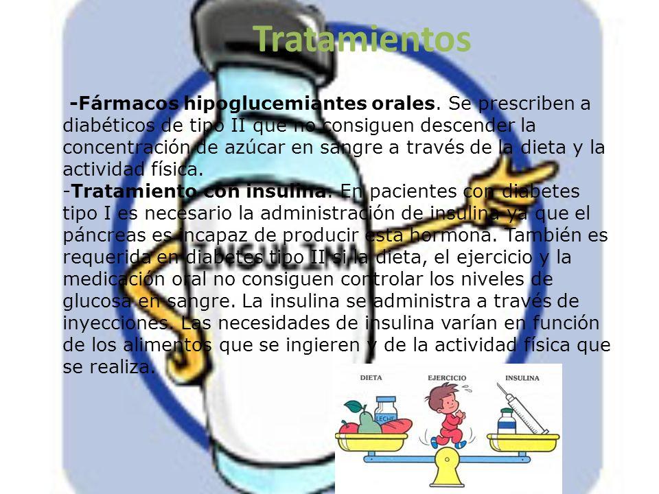 Tratamientos -Fármacos hipoglucemiantes orales. Se prescriben a diabéticos de tipo II que no consiguen descender la concentración de azúcar en sangre