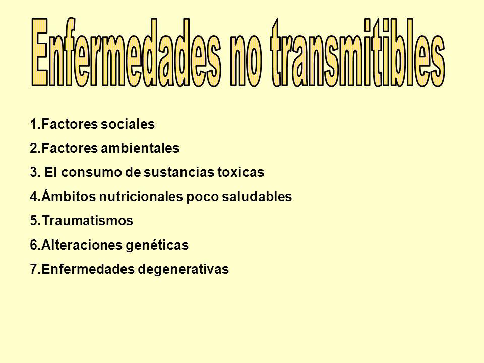 1.Factores sociales 2.Factores ambientales 3. El consumo de sustancias toxicas 4.Ámbitos nutricionales poco saludables 5.Traumatismos 6.Alteraciones g