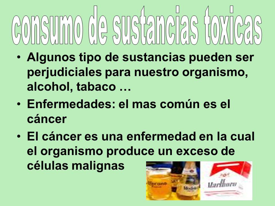 Algunos tipo de sustancias pueden ser perjudiciales para nuestro organismo, alcohol, tabaco … Enfermedades: el mas común es el cáncer El cáncer es una