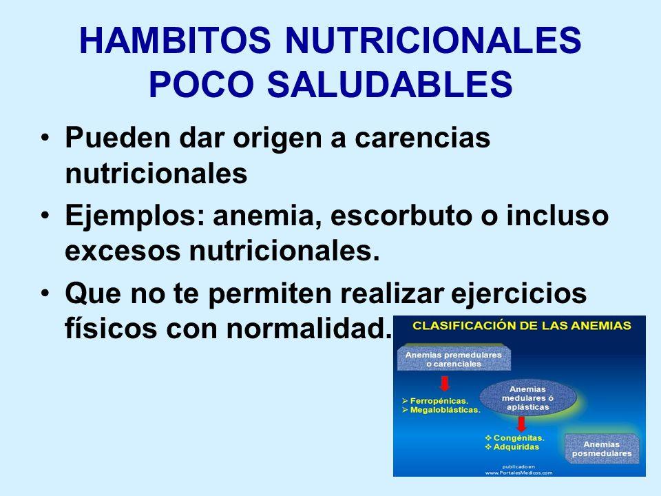 HAMBITOS NUTRICIONALES POCO SALUDABLES Pueden dar origen a carencias nutricionales Ejemplos: anemia, escorbuto o incluso excesos nutricionales. Que no