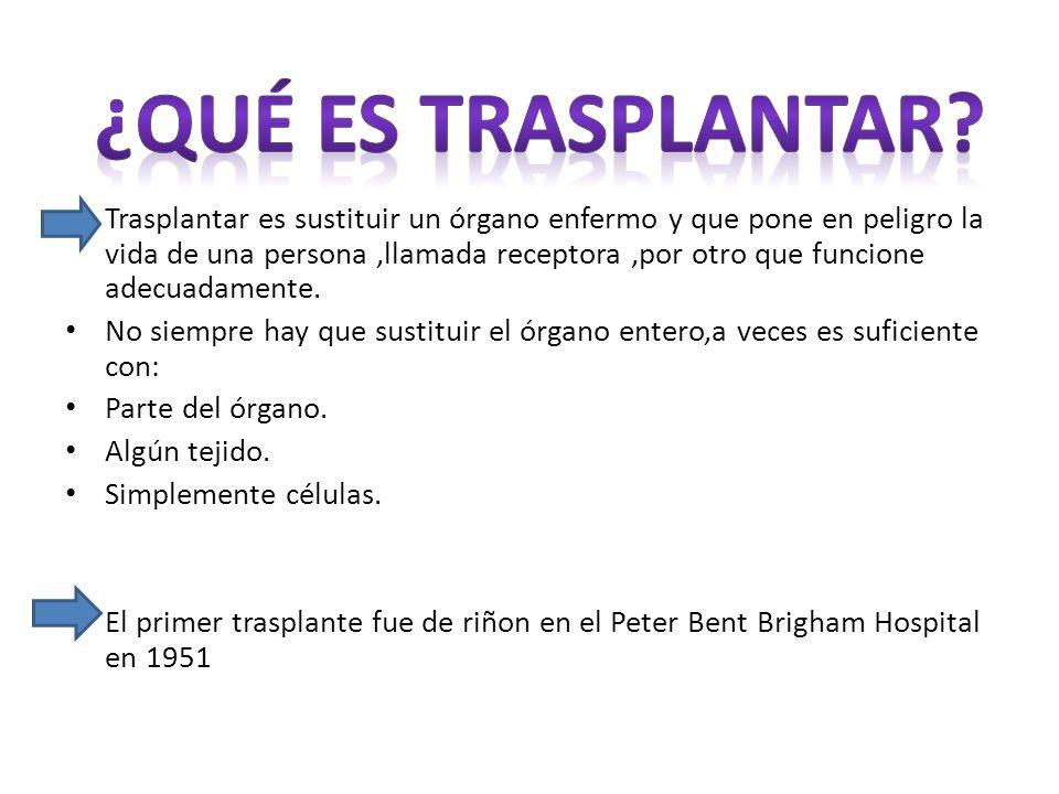 Trasplantar es sustituir un órgano enfermo y que pone en peligro la vida de una persona,llamada receptora,por otro que funcione adecuadamente.