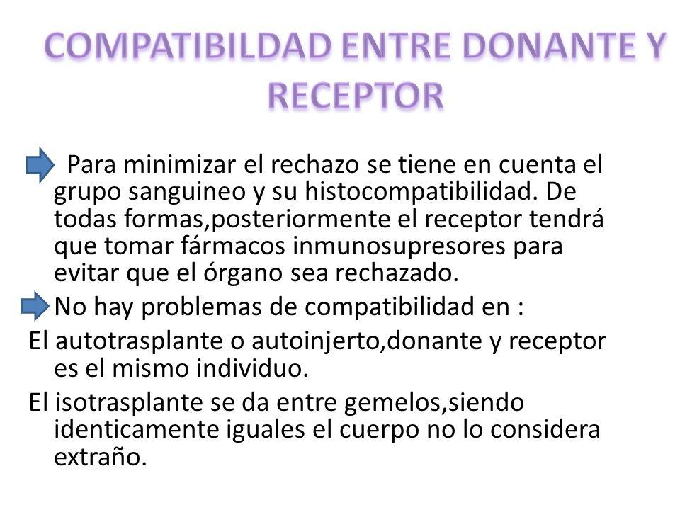 Para minimizar el rechazo se tiene en cuenta el grupo sanguineo y su histocompatibilidad.