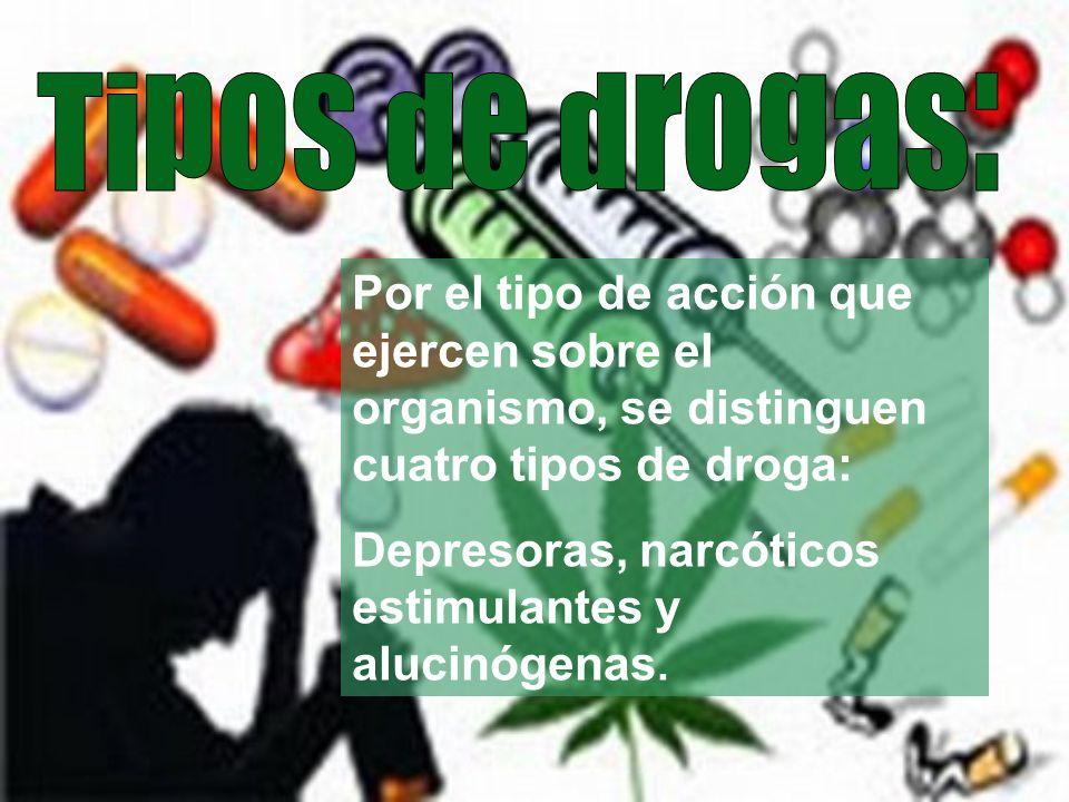 Por el tipo de acción que ejercen sobre el organismo, se distinguen cuatro tipos de droga: Depresoras, narcóticos estimulantes y alucinógenas.