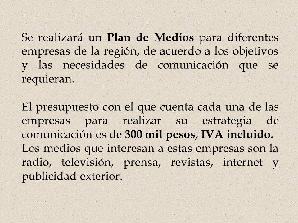 Se realizará un Plan de Medios para diferentes empresas de la región, de acuerdo a los objetivos y las necesidades de comunicación que se requieran.