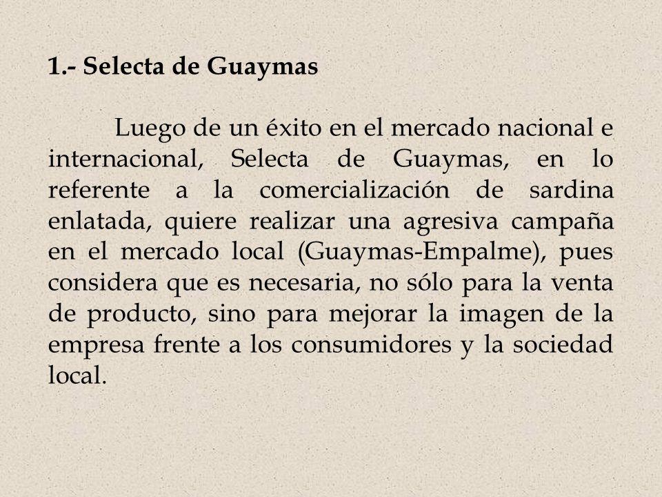 1.- Selecta de Guaymas Luego de un éxito en el mercado nacional e internacional, Selecta de Guaymas, en lo referente a la comercialización de sardina enlatada, quiere realizar una agresiva campaña en el mercado local (Guaymas-Empalme), pues considera que es necesaria, no sólo para la venta de producto, sino para mejorar la imagen de la empresa frente a los consumidores y la sociedad local.