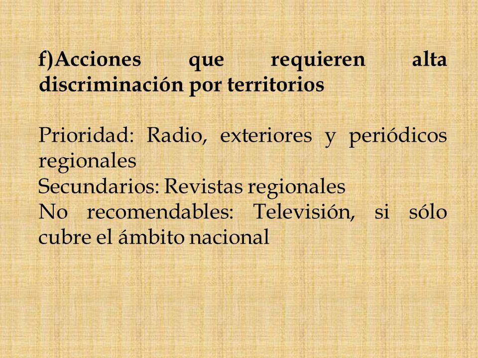 f)Acciones que requieren alta discriminación por territorios Prioridad: Radio, exteriores y periódicos regionales Secundarios: Revistas regionales No
