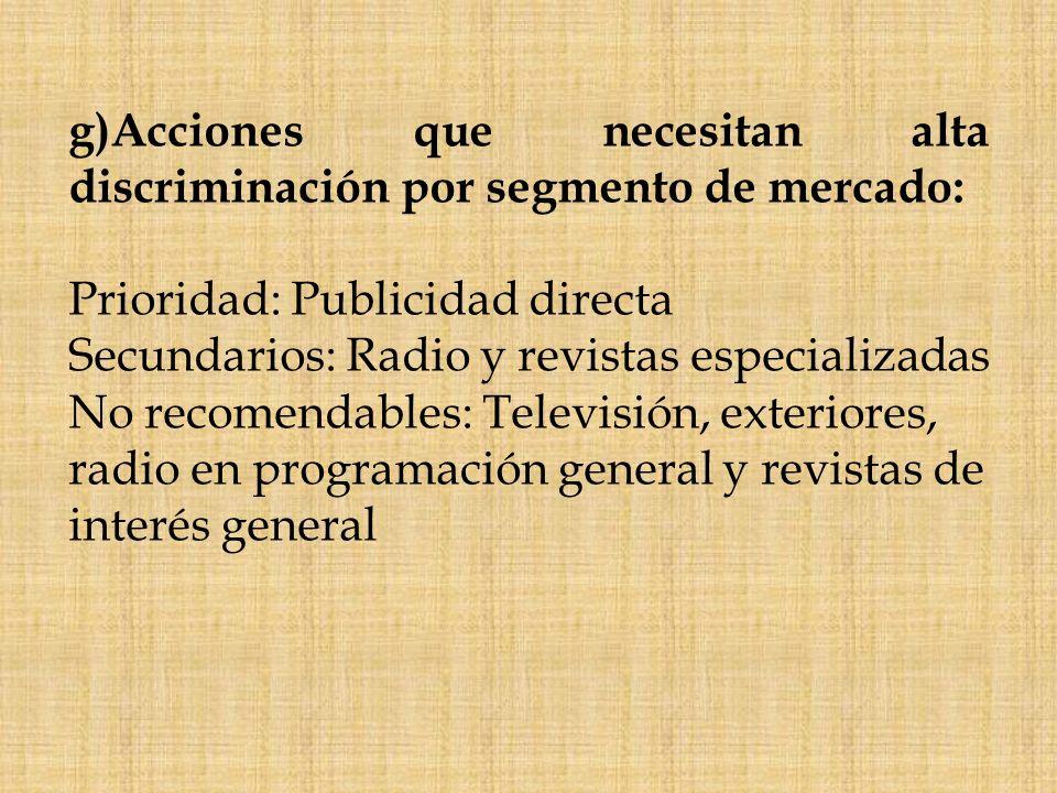 g)Acciones que necesitan alta discriminación por segmento de mercado: Prioridad: Publicidad directa Secundarios: Radio y revistas especializadas No re
