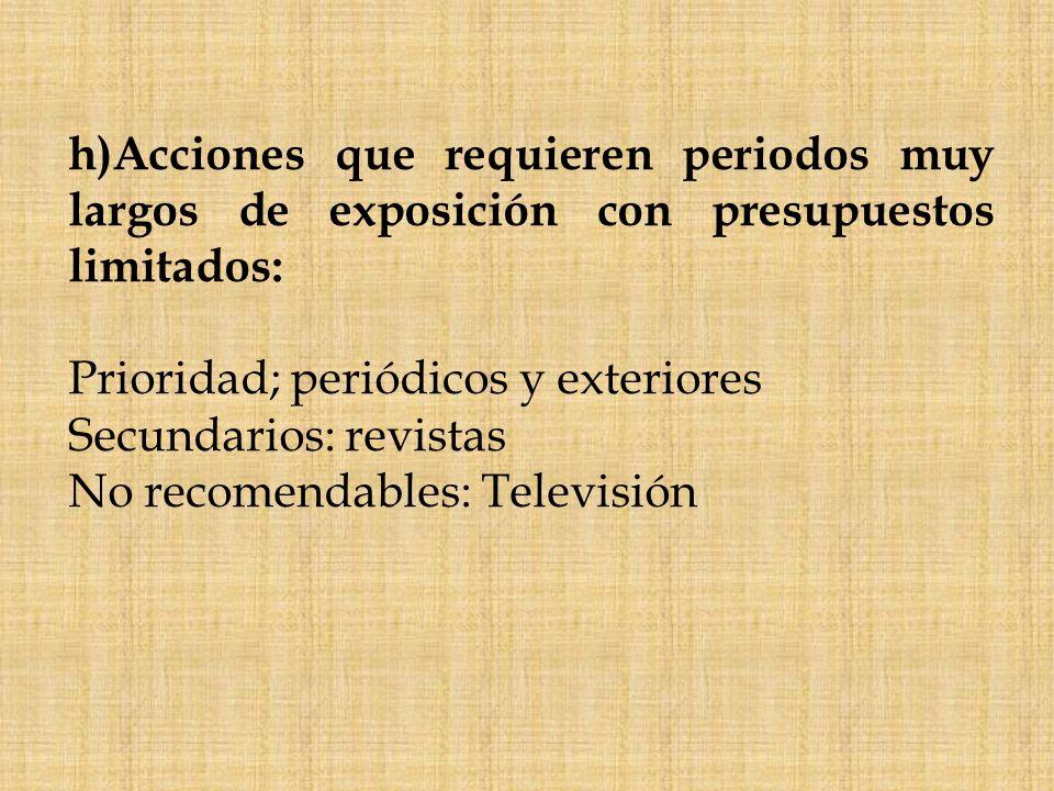 h)Acciones que requieren periodos muy largos de exposición con presupuestos limitados: Prioridad; periódicos y exteriores Secundarios: revistas No rec