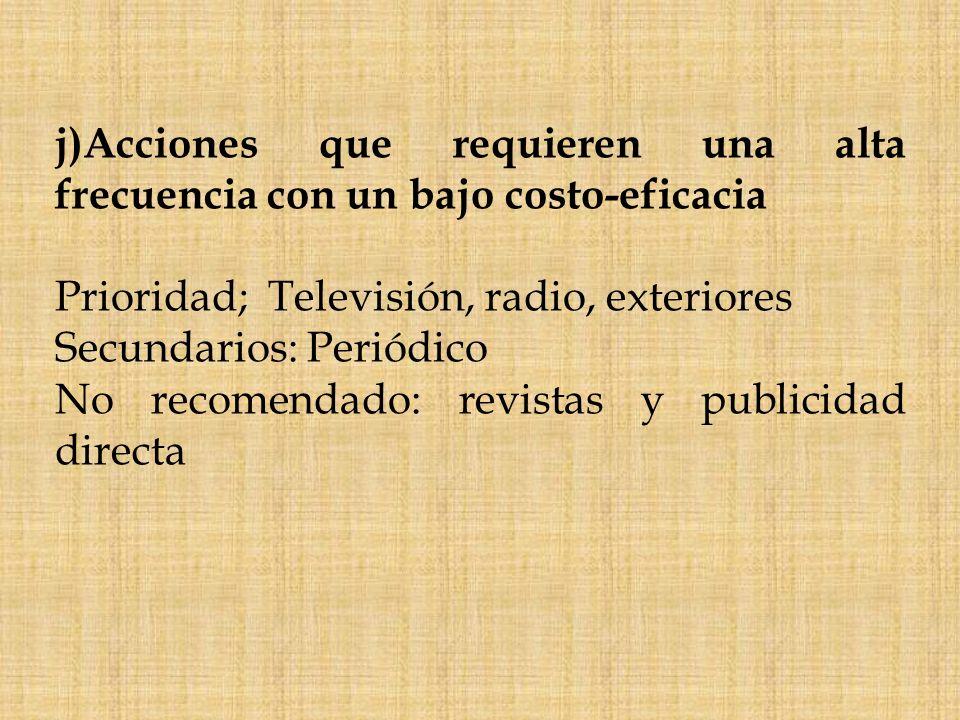 j)Acciones que requieren una alta frecuencia con un bajo costo-eficacia Prioridad; Televisión, radio, exteriores Secundarios: Periódico No recomendado