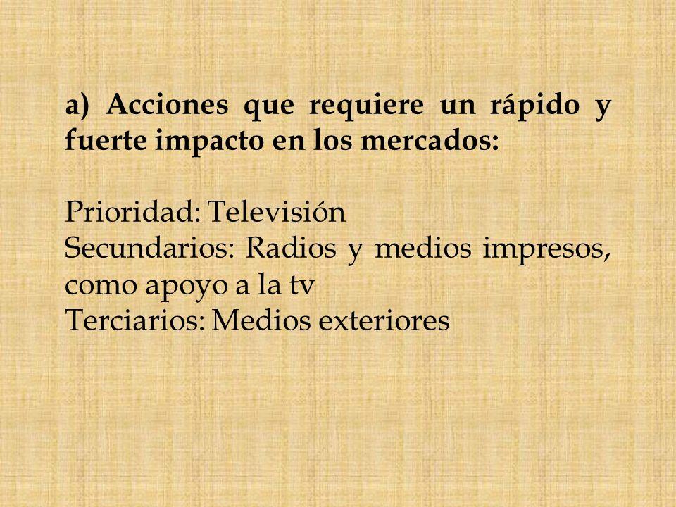 a) Acciones que requiere un rápido y fuerte impacto en los mercados: Prioridad: Televisión Secundarios: Radios y medios impresos, como apoyo a la tv T