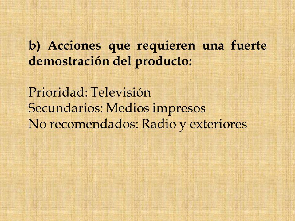 c)Acciones que exigen una profunda y rápida identificación del aspecto exterior del producto: Prioridad: Medios impresos y exteriores Secundarios: Televisión No recomendables: Radio