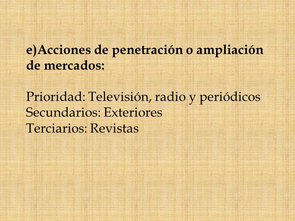 e)Acciones de penetración o ampliación de mercados: Prioridad: Televisión, radio y periódicos Secundarios: Exteriores Terciarios: Revistas